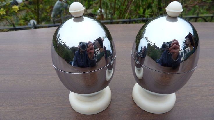 VINTAGE CHROME ART DECO INSULATED EGG CUPS - KOSY KRAFT -  RETRO EASTER GIFT