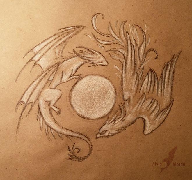 Dragon and Phoenix by AlviaAlcedo.deviantart.com on @DeviantArt