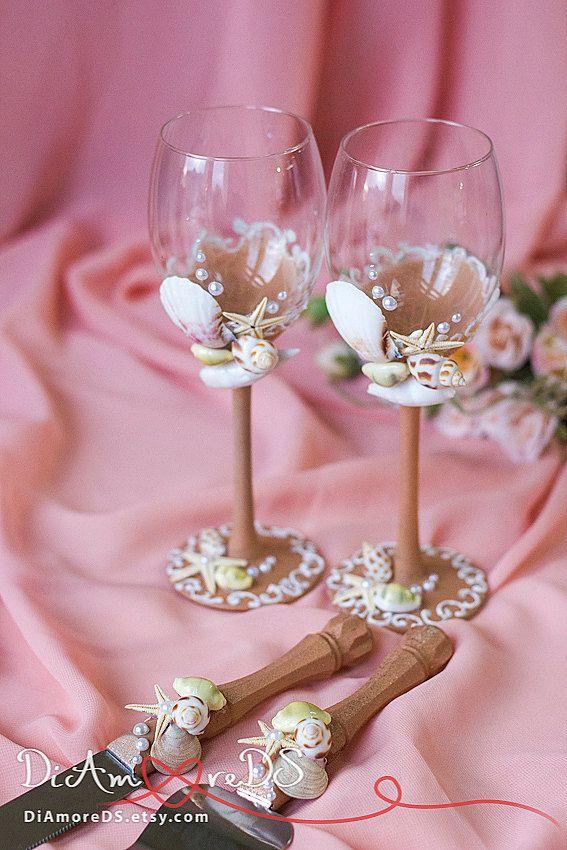 Beach wedding set cake server and knife wine glasses sea