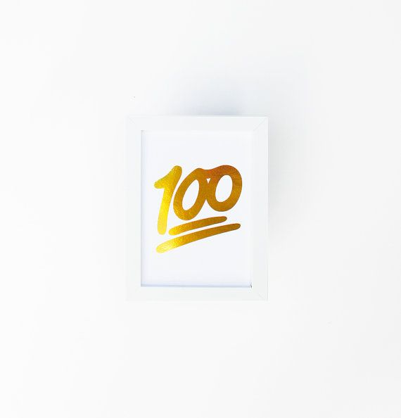 Gold Foil Print 100 Emoji One Hundred Fun Apartment by ESSANEL