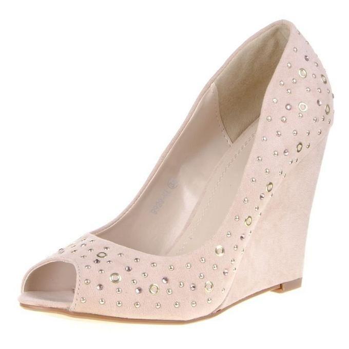 Peep toe dames pumps 10 cm sleehak studs strass beige roze