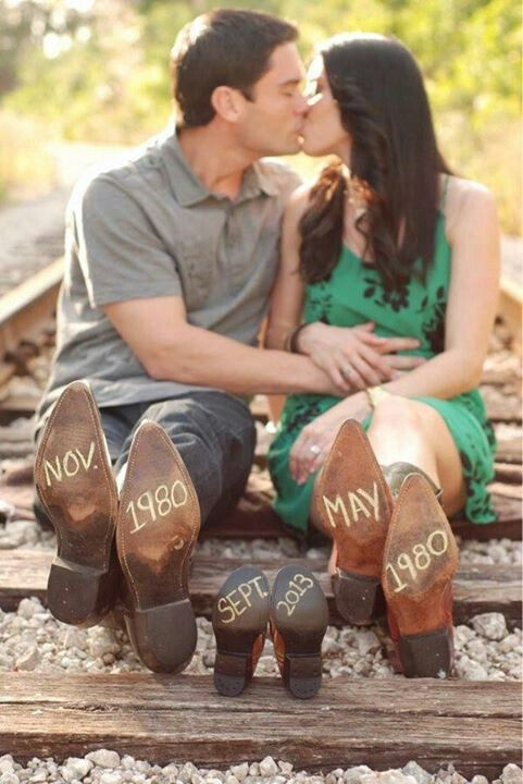 save the date for a baby. couple in cowboy boots. very cute, though my boyfriend would never wear them.  Morgan Howald this is you all day long. Cute idea. @Morgan Howald