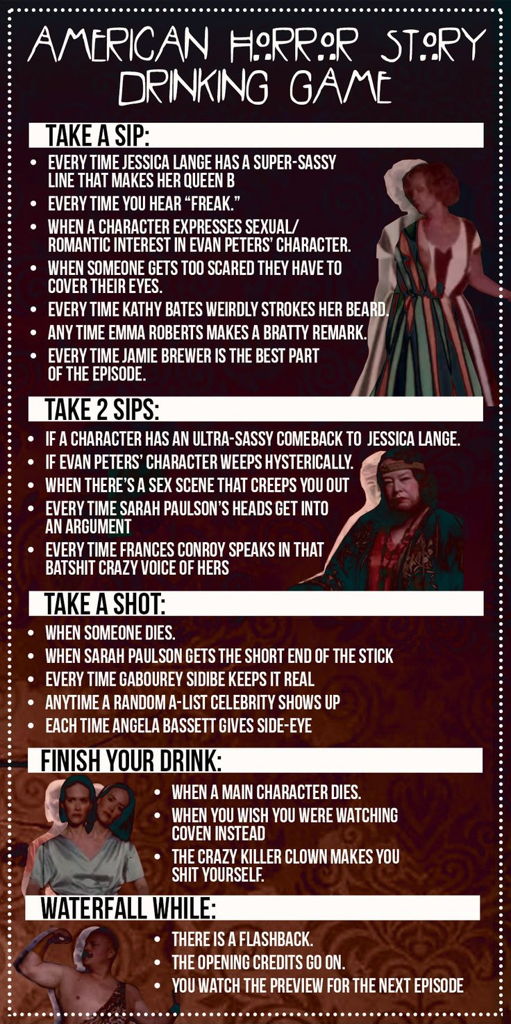 """The """"American Horror Story"""" Drinking Game You've Always Needed--Can't wait for #FreakShow"""