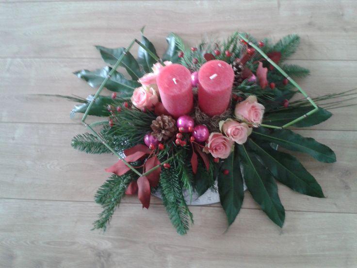 Kaarsenstuk met roze rozen 2016