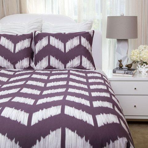 Great site for designer bedding!! Addison Chevron Duvet Set in Plum Purple. 350 thread-count + 100% extra-long staple cotton.