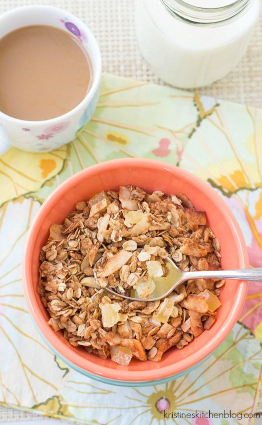 Five reasons why you should make your own granola, plus a recipe for Tropical Granola. Full of coconut, pineapple, and almonds, this granola will bring a taste of the tropics to your kitchen table!