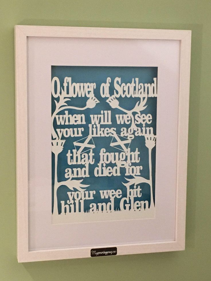 A personal favourite from my Etsy shop https://www.etsy.com/uk/listing/502347180/flower-of-scotland-framed-papercut-home