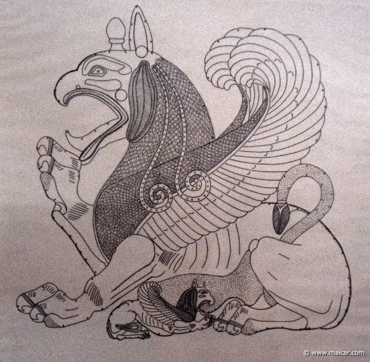 Female griffin suckling her offspring; drawing of a bronze sheet from Corinthian workshop end 7th BCE