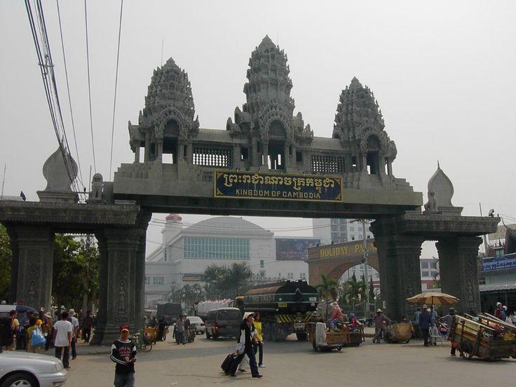 border crossing at poipet, cambodia to thailand.