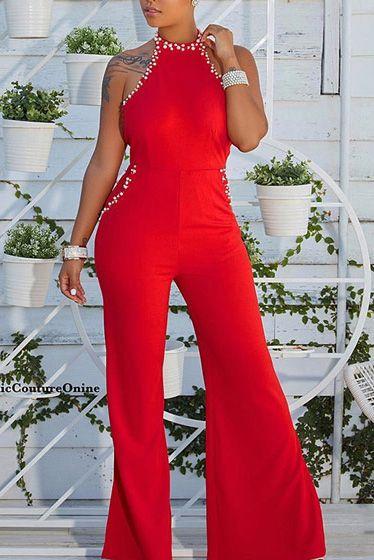 b03a3b212 Compre Macacão Flare Frente Única Com Pérolas Preto Vermelho