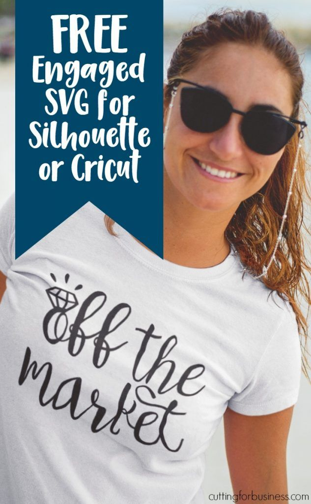 Free Engaged SVG Cut File for Silhouette Cameo or Cricut Explore - by cuttingforbusiness.com