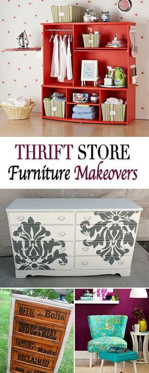 Thrift Store Furniture Makeovers • Tutorials for transforming old thrift store finds into amazing one of a kind pieces for your home! I love the laundry station from an old entertainment center!