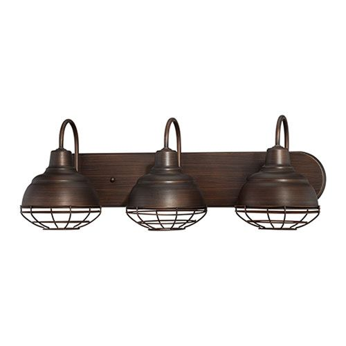 Neo Industrial Rubbed Bronze Three Light Vanity Fixture 3 Light Bath Lighting Wall Lighti