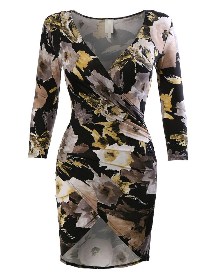 Womens Stretchy 3/4 Sleeve Side Draped Bodycon Dress