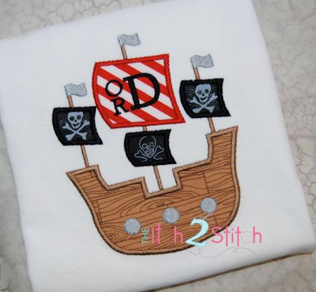 Pirate Ship Applique Design for  boys (font is NOT included) in Hoop Size(s) 5x7 and 6x10 INSTANT DOWNLOAD now available on Etsy, $4.00