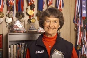 """Sister Madonna Buder, age 81. Started running at age 48. """"Enjoy the thrill and learn to chill."""" She passed me at the Seroogy's 15K in 2009. Some day I will catch up..."""