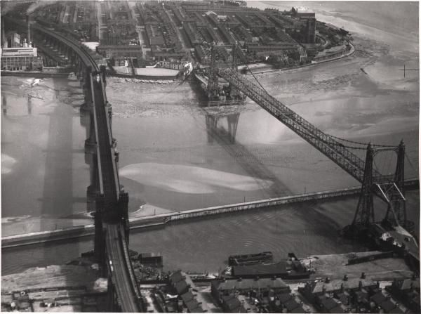 The Transporter Bridge Between Runcorn and Widnes, before Silver Jubilee Bridge was built.