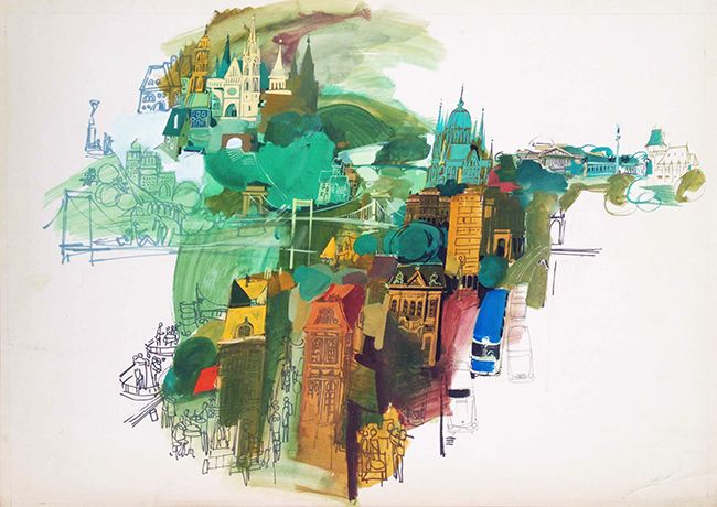 Hungarian title:  Budapest Artist:	Size: Gunda, Antal	A1 One Sheet (cca. 84 x 55 cm) Year:	Price: 1965	$2750