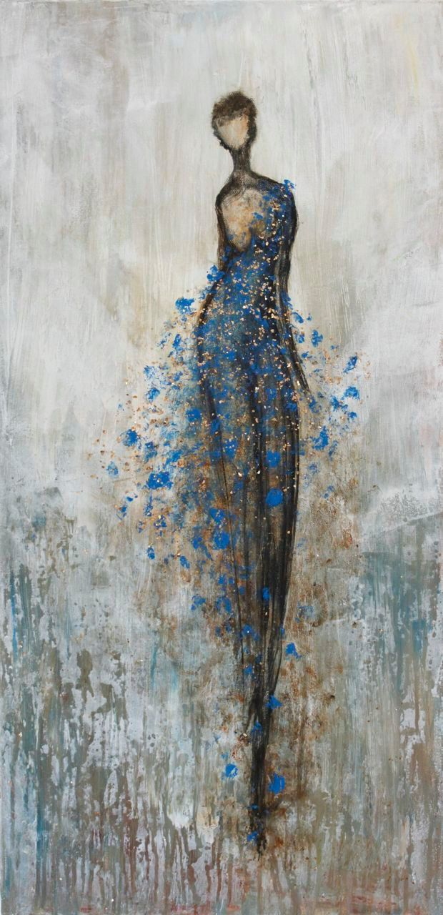 Figurative Painting dancer woman textured large by SwallaStudio