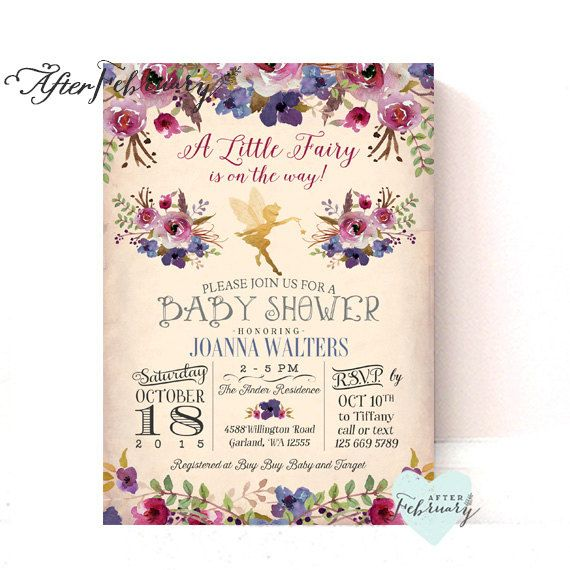 Fairy Baby Shower Invitation Plum Purple Enchanted Fall Baby Shower Invitation…                                                                                                                                                                                 More