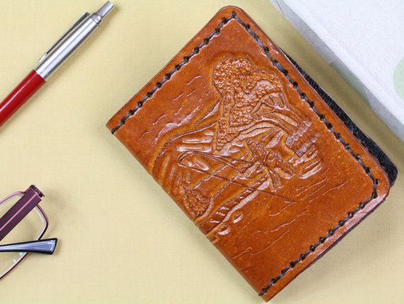 Hand Carved Leather Fisherman Wallet  Men's by TinasLeatherCrafts. Repin To Remember.