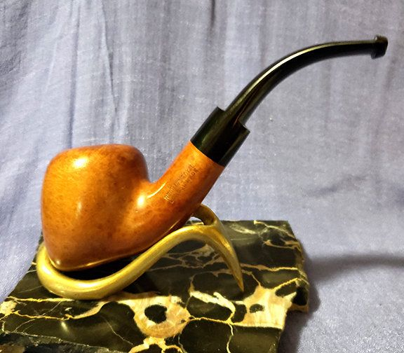 Handmade Pipe Made in Turkey Wood and Metal Pipe 1940 Vintage Oriental Pipe