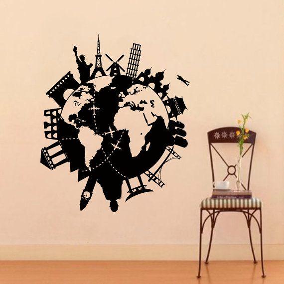 Parete in vinile decalcomanie mondo viaggi Mappa Decal Sticker Home Decor Arte murale Z542