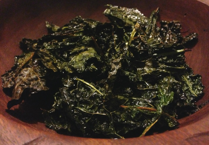 Organic Kale Chips with Lemongrass Infused Olive Oil and Himalayan Salt - delicious!
