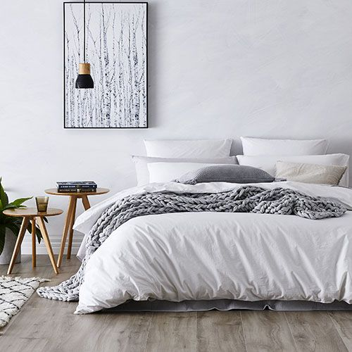Stonewashed Cotton Quilt Cover White