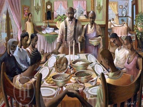 Dinner Thanksgiving ArtAfrican American