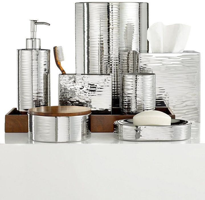 Decorative Bathroom Accessories Look Sleek And Modern Hotel Collection Polished Hammered Metal
