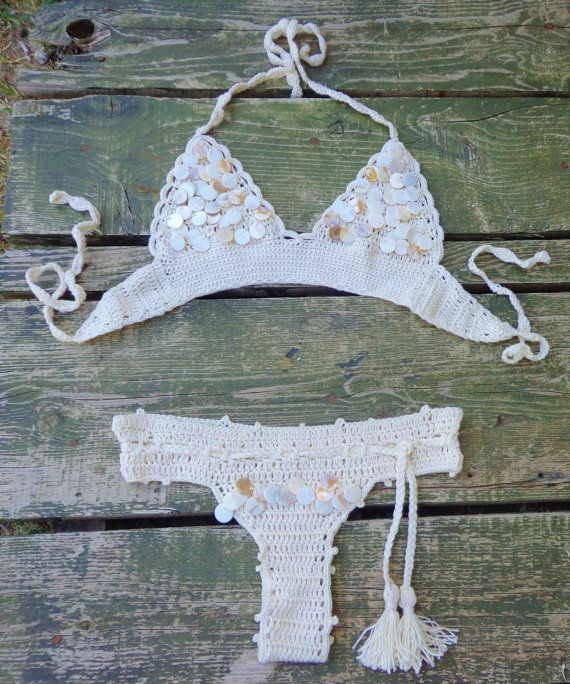 Sea Shell Sequin BikiniWedding BikiniFestival by byrosali on Etsy