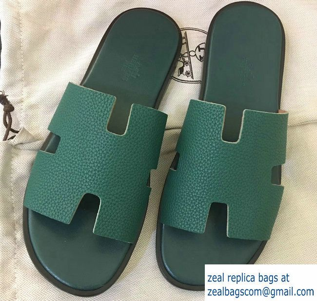 Hermes Izmir Men S Slipper Sandals In Togo Calfskin Green