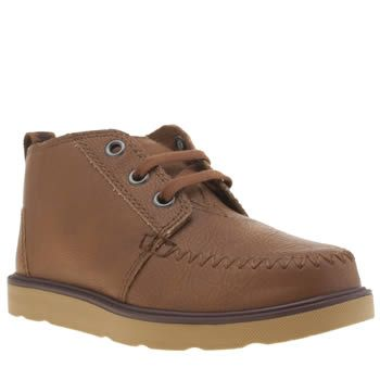 TOMS Brown Chukka Boot Boys Junior Your mini-me can enjoy this downsized version of the TOMS Chukka Boot as it arrives for kids. This adorable ankle boot features a faux-leather upper in brown with a simple lace construction and a grip http://www.MightGet.com/january-2017-13/toms-brown-chukka-boot-boys-junior.asp