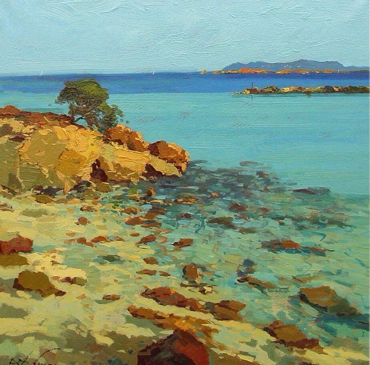 Italian original oil painting Sardinia sea seascape oil on canvas 80x80 cm Sardegna Italy