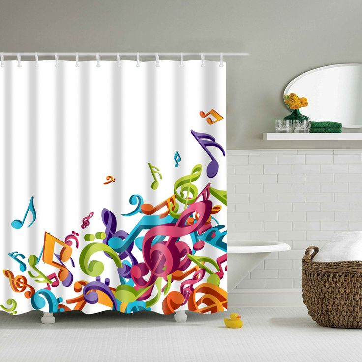 music Note shower curtain cortinas ducha zaslona prysznicowa waterproof bathroom douchegordijn #Affiliate