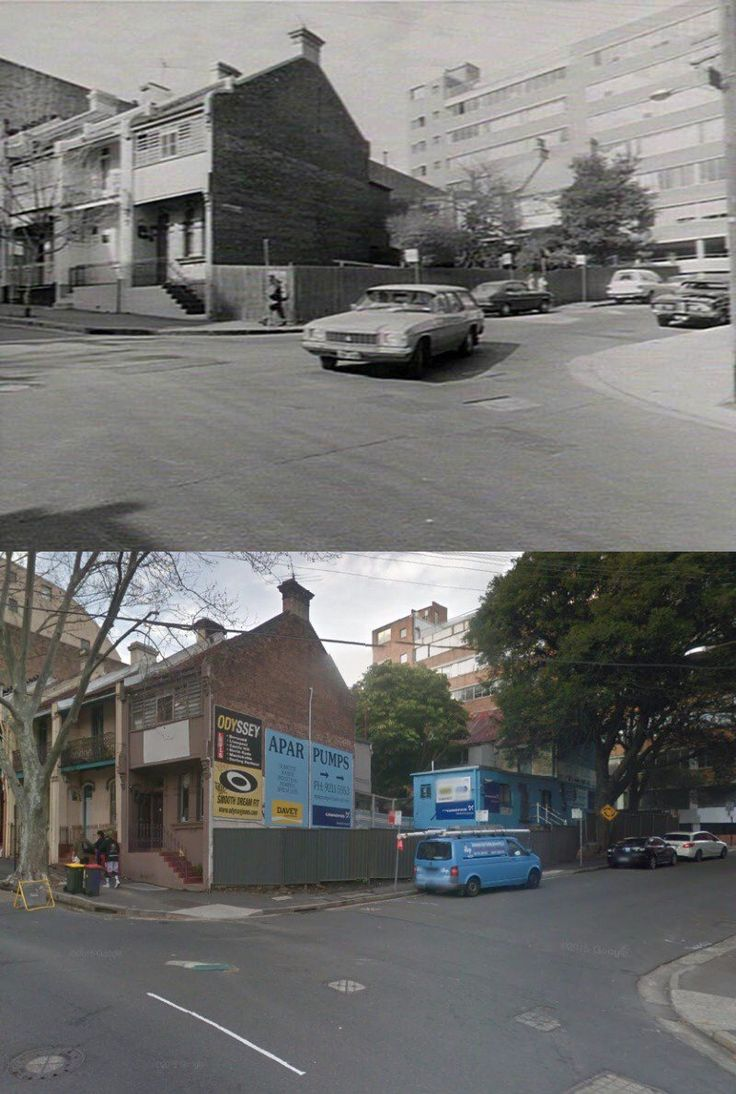 South east cnr Foveaux and Waterloo Sts, Surry Hills 1977>2015 [State Library NSW>Google Street View/by Phil Harvey]