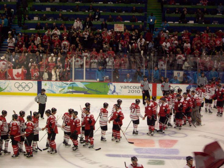 Men's Preliminary Ice Hockey, Vancouver Winter Olympics 2010, Canada vs. Switzerland, shaking hands after Canada wins... Canada went on to take the gold medal.