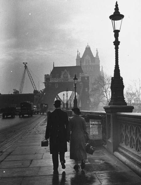 Across Tower Bridge: London, 1939 (via)