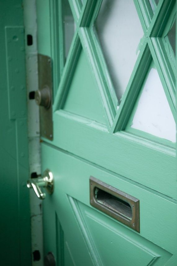mint green door