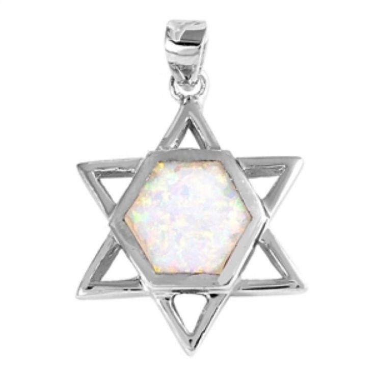 "1.1"" Star Of David Jewish Star Pendant Charm Solid 925 Sterling Silver Lab Created White Opal Jewish Star of David Jewelry Judaism"