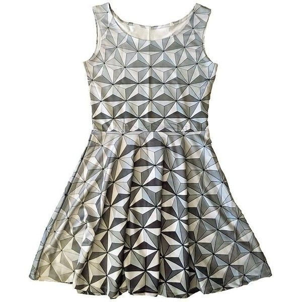 Epcot Spaceship Earth Inspired Skater Dress ❤ liked on Polyvore featuring dresses, white dresses, white colour dress, white day dress, white skater dress and skater dresses
