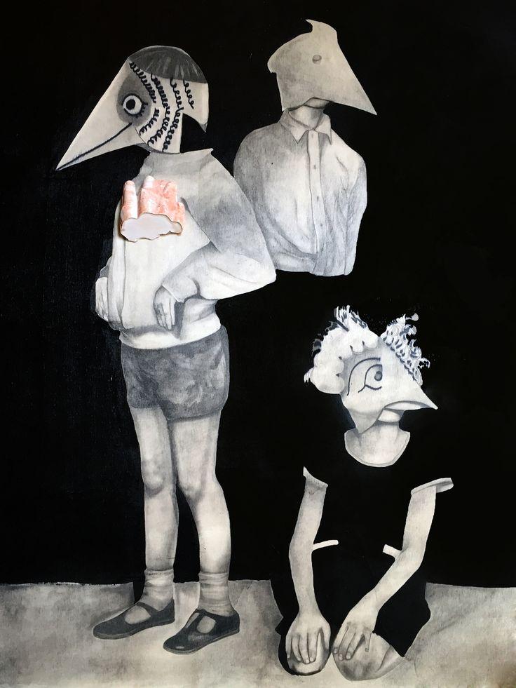 bambini con maschera , federica poletti drawings ,2016