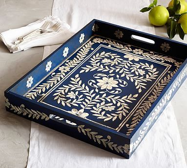 Is this going to look too nautical to put on the ottoman? Marion Large Hand-Painted Tray #potterybarn