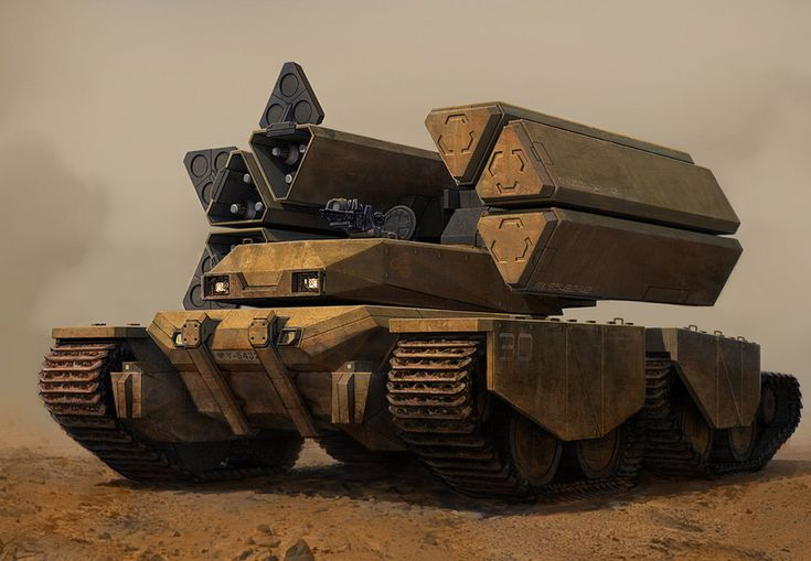 Armored vehicle with missile racks.