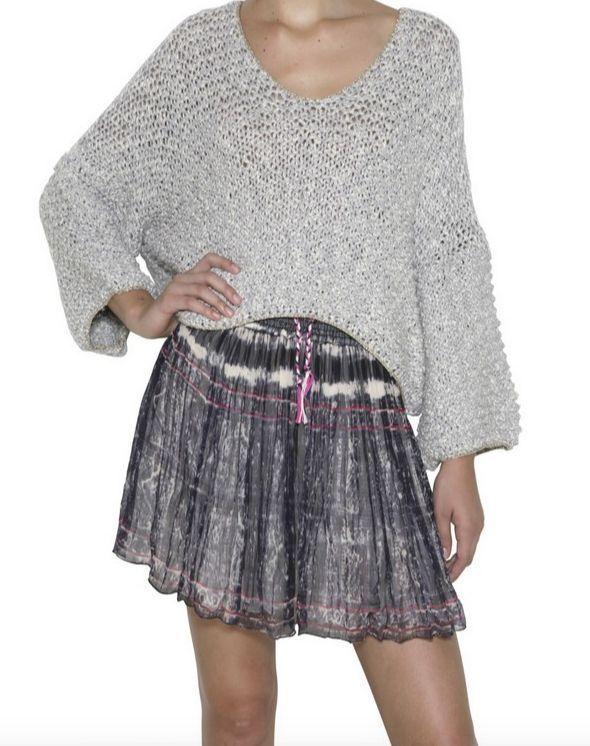 NEW MES DEMOISELLES Paris $154 Bohemian Skirt Pleated Swingy Mini 6 Small 38 NWT #MesDemoiselles #Mini