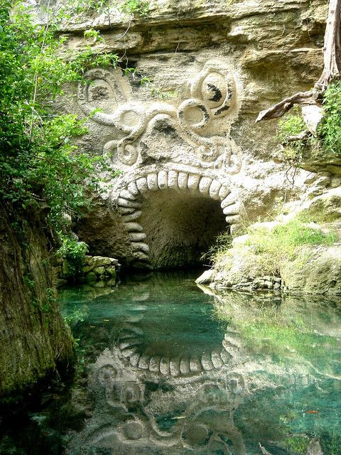 archaeology & prehistoric   Mayan entrance in the caves of Xcaret, Riviera Maya, Mexico (by raulmacias).
