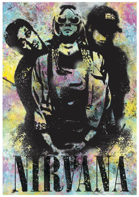 Nirvana Grunge Poster by ExtremepandaDesign on Etsy
