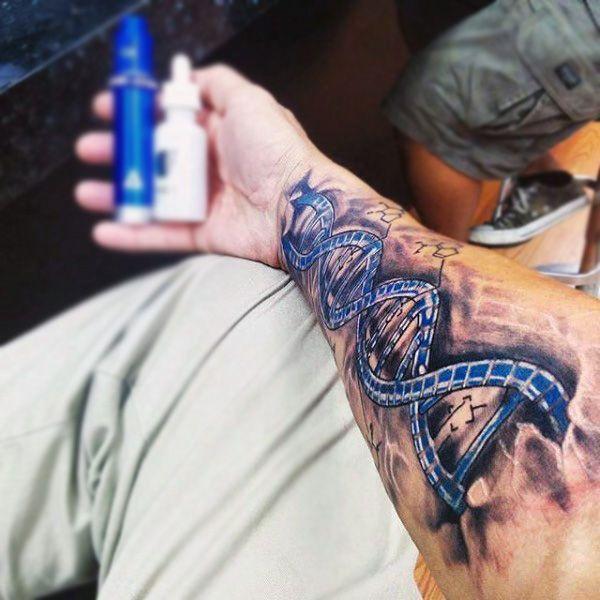 Wrist Mens Dna Blue Double Helix Tattoo Design Inspiration