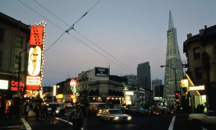 1973 - Night time look at North Beach, San Francisco, California, Broadway and Columbus looking south Carol Doda's Condor Club and Transamerica Pyramid - Copy __ image credit - Michael Holley - Wikipedia